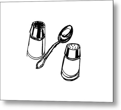 Diner Drawing Salt, Pepper, And Spoon Metal Print by Chad Glass