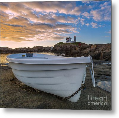 Dinghy At Nubble Lighthouse Metal Print by Jerry Fornarotto