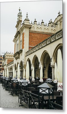 Dining Tables And The Sukiennice Cloth Hall Metal Print by Pati Photography