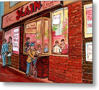 Dinner At The Main Steakhouse Metal Print by Carole Spandau