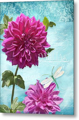 Dinnerplate Dahlia Flower W Dragonfly Metal Print by Audrey Jeanne Roberts