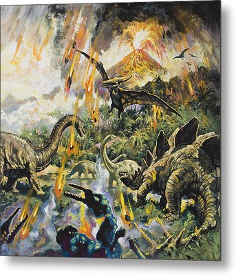 Dinosaurs And Volcanoes Metal Print by English School