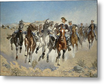Dismounted The Fourth Troopers Moving The Led Horses Metal Print by Frederic Remington