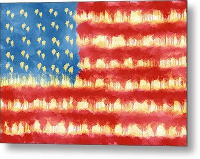 Distressed American Flag Metal Print by Skip Nall