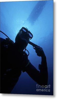 Diver Holding Gun To Head Underwater Metal Print by Sami Sarkis
