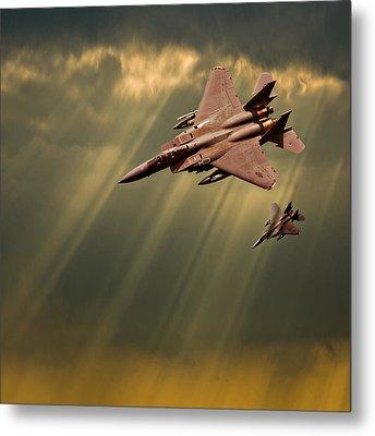 Diving Eagles Metal Print by Meirion Matthias