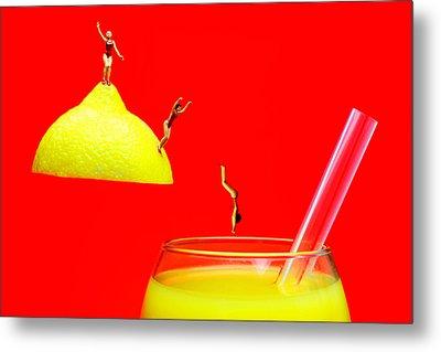 Diving Into Orange Juice Metal Print by Paul Ge