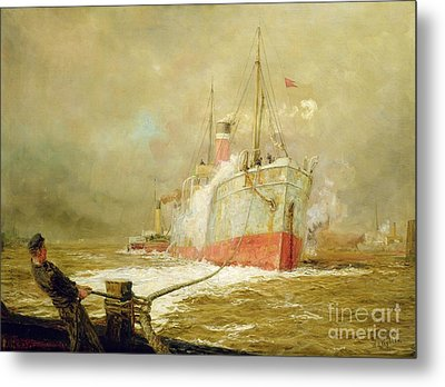 Docking A Cargo Ship Metal Print by William Lionel Wyllie