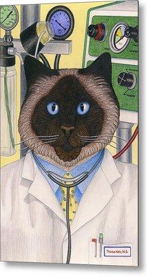 Doctor Cat Metal Print by Carol Wilson