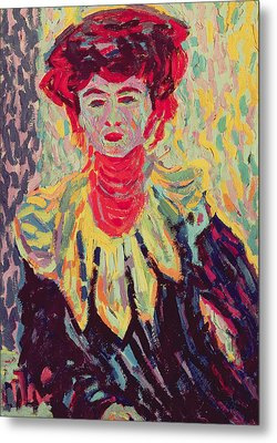 Dodo Or Isabella With A Ruffed Collar Metal Print by Ernst Ludwig Kirchner