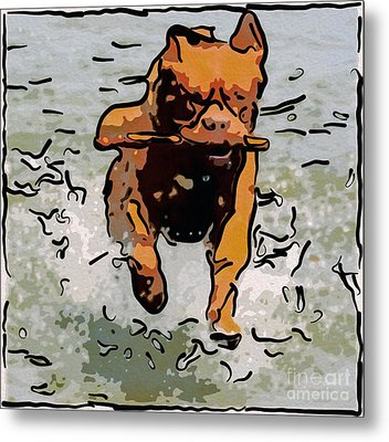 Doggie Delightdoggie Delight Abstract Dog Art Metal Print by Omaste Witkowski