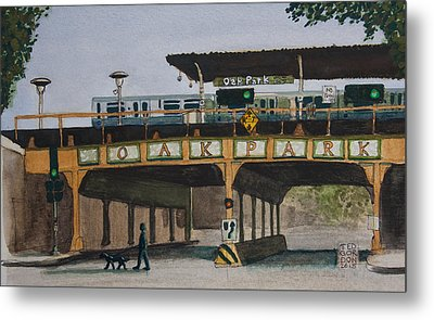 Dogs And Trains In The Village Metal Print by Ted Gordon