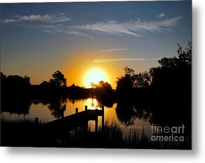 Dolphin Cove Sunrise Metal Print by Benanne Stiens