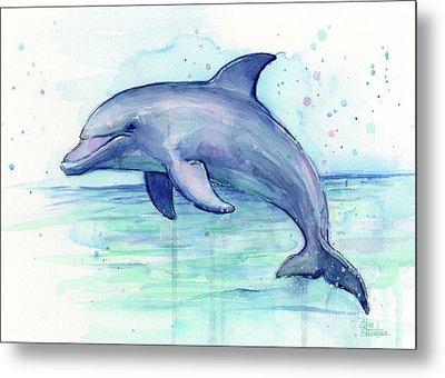 Dolphin Watercolor Metal Print by Olga Shvartsur