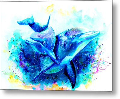 Dolphins Metal Print by Isabel Salvador