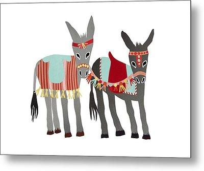 Donkeys Metal Print by Isoebl Barber