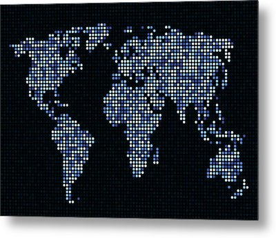 Dot Map Of The World - Blue Metal Print by Michael Tompsett