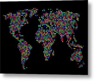 Dot Map Of The World - Multi Colours Metal Print by Michael Tompsett