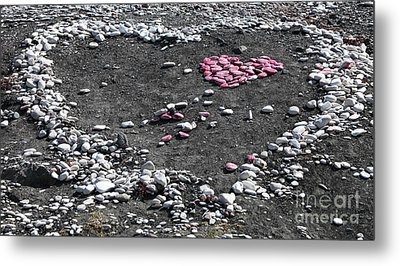 Double Heart On The Beach Metal Print by John Rizzuto