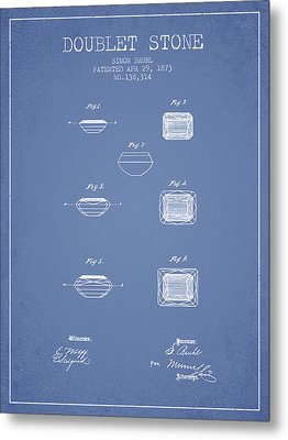 Doublet Stone Patent From 1873 - Light Blue Metal Print by Aged Pixel