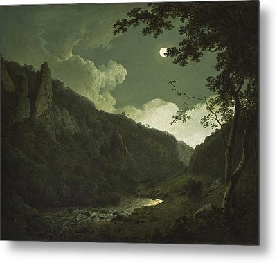 Dovedale By Moonlight Metal Print by Joseph Wright of Derby