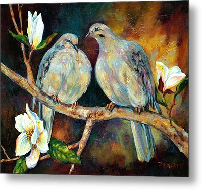 Doves And Magnolia Metal Print by Peggy Wilson