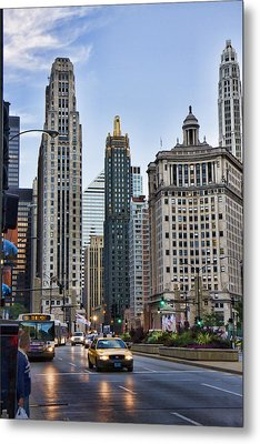 Downtown Chicago Traffic Metal Print by Paul Bartoszek
