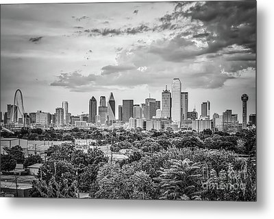 Downtown Dallas In Black And White Metal Print by Tod and Cynthia Grubbs