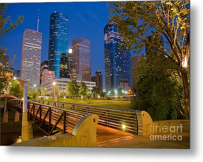 Dowtown Houston By Night Metal Print by Olivier Steiner