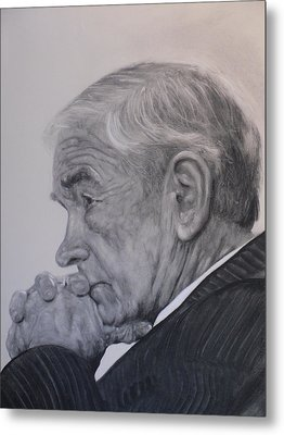 Dr. Ron Paul, Pensive Metal Print by Adrienne Martino