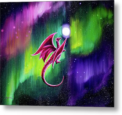 Dragon Soaring Through The Northern Lights Metal Print by Laura Iverson