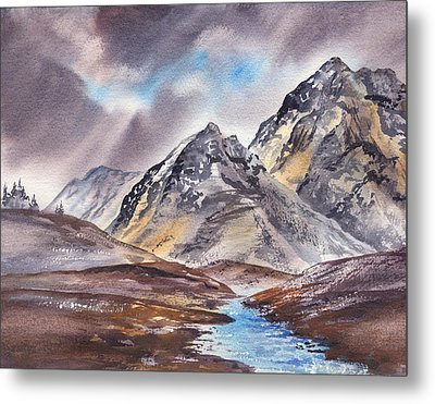 Dramatic Landscape With Mountains Metal Print by Irina Sztukowski