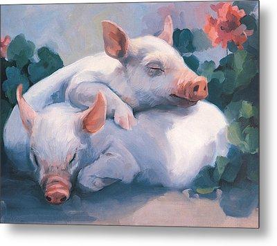 Dream Away Piglets Metal Print by Laurie Hein