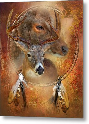 Dream Catcher - Autumn Deer Metal Print by Carol Cavalaris