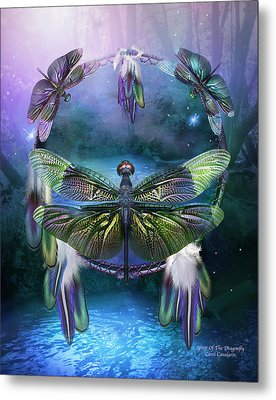 Dream Catcher - Spirit Of The Dragonfly Metal Print by Carol Cavalaris