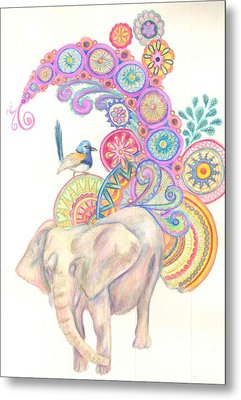 Dreamy Elephant And Bird Metal Print by Cherie Sexsmith