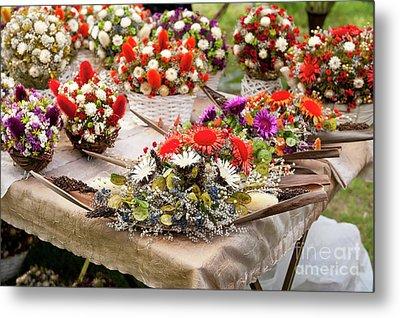 Dried Flowers Arrangements At Fair Metal Print by Arletta Cwalina