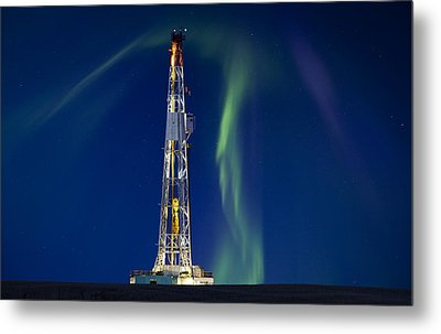 Drilling Rig Saskatchewan Metal Print by Mark Duffy