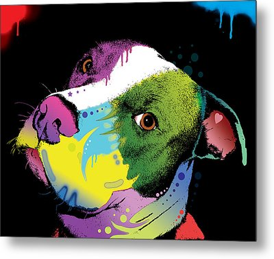 Dripful Pitbull Metal Print by Dean Russo