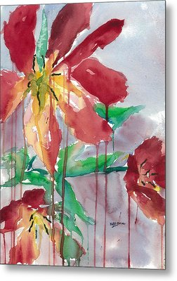 Drippy Tulips Metal Print by Mary Lomma
