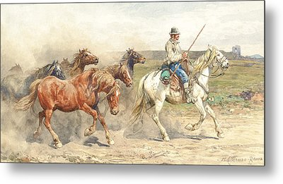 Droving Horses In The Roman Campagna Metal Print by Enrico Coleman