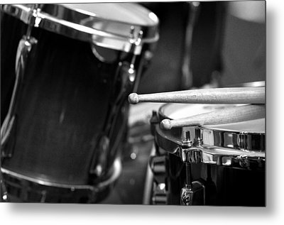 Drumsticks And Drums In Black And White Metal Print by Rebecca Brittain