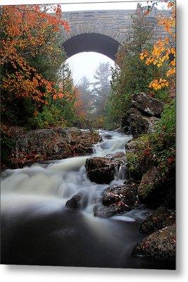 Duck Brook Bridge In The Rain Metal Print by Dave Storym