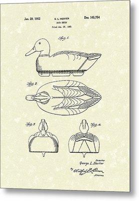 Duck Decoy 1952 Patent Art Metal Print by Prior Art Design