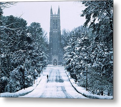 Duke Snowy Chapel Drive Metal Print by Duke University