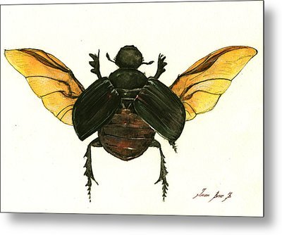 Dung Beetle Metal Print by Juan Bosco