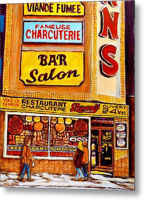 Dunn's Restaurant Montreal Metal Print by Carole Spandau