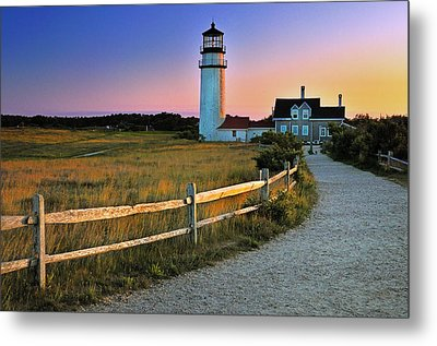 Dusk At Cape Cod Lighthouse Metal Print by Thomas Schoeller