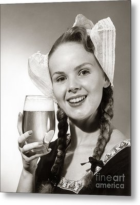 Dutch Woman With Beer, C.1950s Metal Print by Coleman/ClassicStock