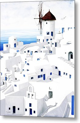 Dwellings, Santorini Metal Print by Mary Grden's Baywood Gallery